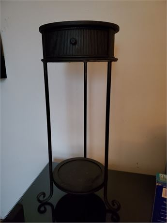 Round Metal Stand w/ Drawer