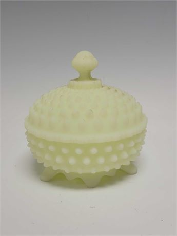Fenton Satin/Lime Green Hobnail Lidded Candy Dish