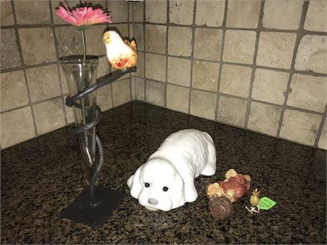 Vase, Bottle Topper, Finial and Ceramic Dog