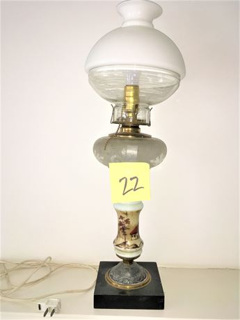 Antique Banquet Lamp Wired For Electricity