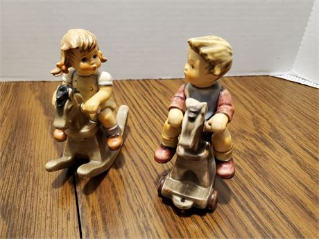 2 Vintage Hummel Figurines Rocking Horses