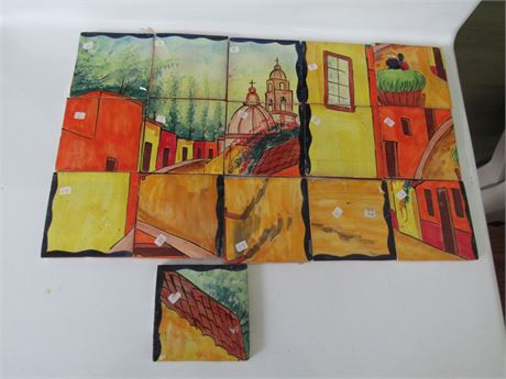 Painted Mexican Tile Art, incomplete