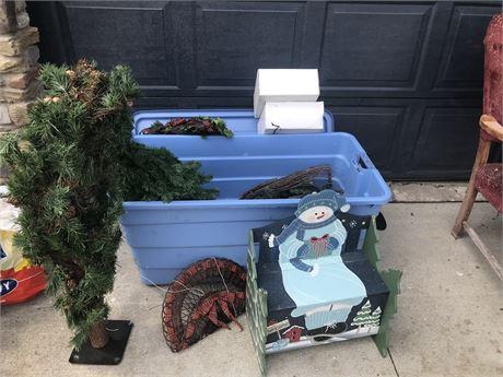 Kid Christmas Bench and Mini Christmas Trees