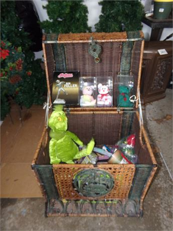 Wicker chest and contents