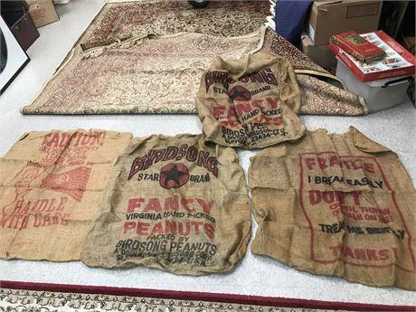 Vintage Burlap Sacks Lot with Advertising