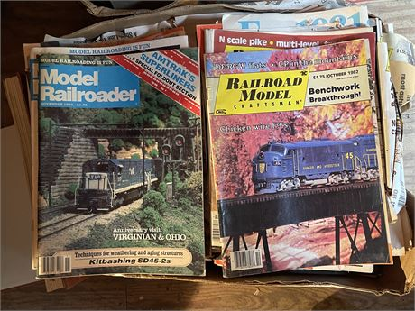 Three Boxes of Railroad Model Periodicals and Popular Mechanics 1970's