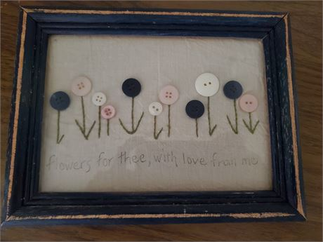 Flowers for Thee with Love from Me Primitive Framed Art