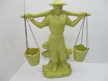 """Vintage 14"""" Conder Ceramic 1950 Arts Chinese Water Carrier Statue"""