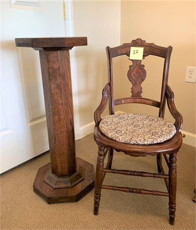 Vintage/Antique Eastlake Style Side Chair and Oak Plant Stand