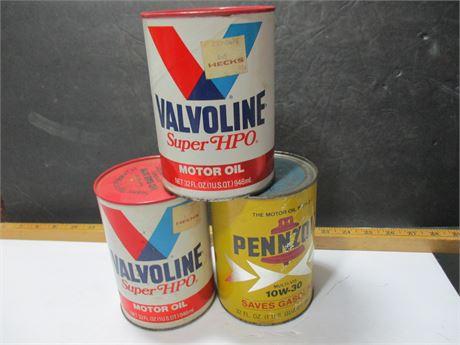 3 Vintage Cardboard Valvoline & Penzoil Unused Quart Oil Can