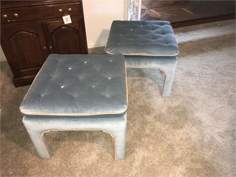 Pair of Velvety Super Soft Square Ottoman Chairs