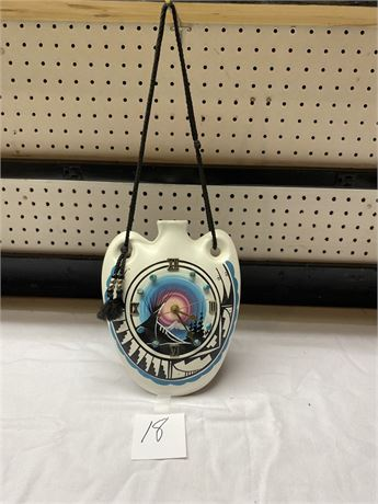 Signed Native American Hand Painted Clock