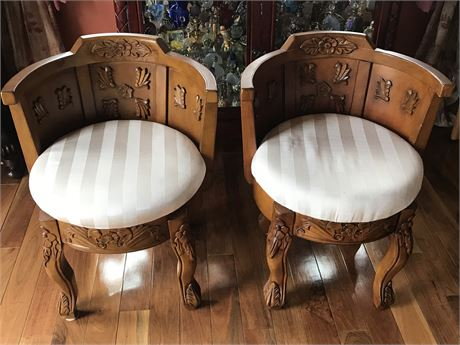 Pair of Victorian Style Barrel Chairs