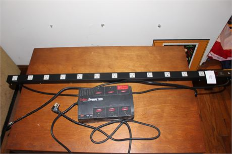 """Back-Up Power Surge Protector and 12 Outlet 48"""" Power Cord"""