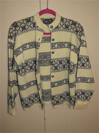 Figgio Nordic Sweater, Vintage Cardigan, Small Womens