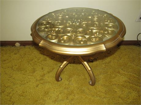 Gold Hollywood Regency End Table w/ Glass Top