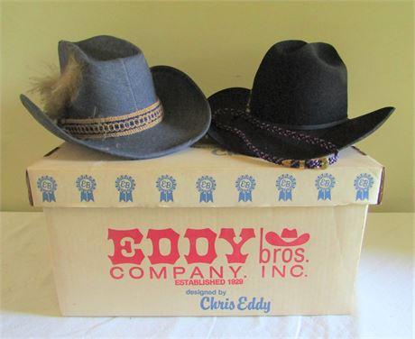 Vintage Hush Puppies Cowboy Hat and Chris Eddy Black Cowboy Hat