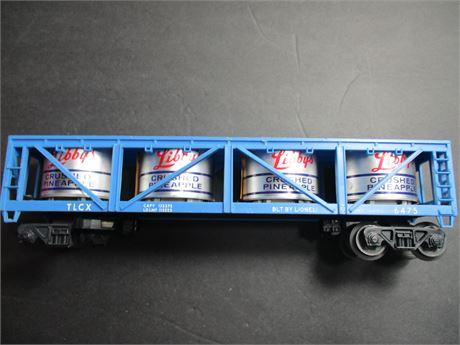 Lionel Libby's Bulk Pineapple Barrel Flat Railroad Car
