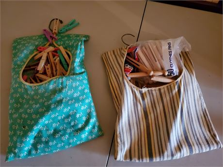 2 Vintage Clothes Pin Bags +
