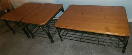 Wood/Metal Coffee Table & 2 End Tables