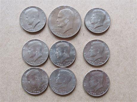 1976 Coin Lot: Kennedy Half Dollars + 1 Ike Dollar