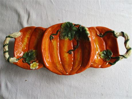 "16"" Heavy Ceramic China Pumpkin Thanksgiving 3 Compartment Dish"