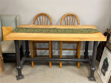 Industrial Style Oak Top Table (Chairs are Not Included)