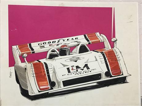Original Walt Herip Signed Race Car Art - Porsche Audi Goodyear L&M