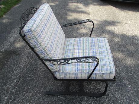 Metal Vine Patio Outdoor Spring Rocker arm chair w Custom Cushions