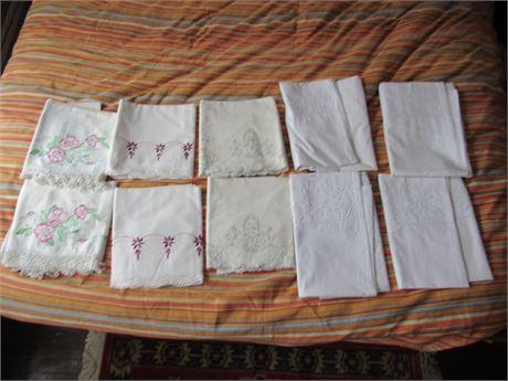 Vintage Embroidered Pillowcase Lot