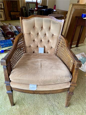 Vintage Barrel Chair with Caning