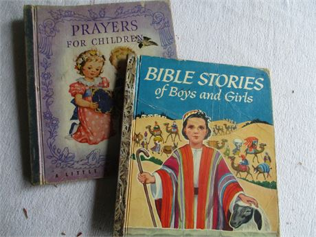 Vintage 1940-50's Golden Books Children's Prayers & Bible Stories Books