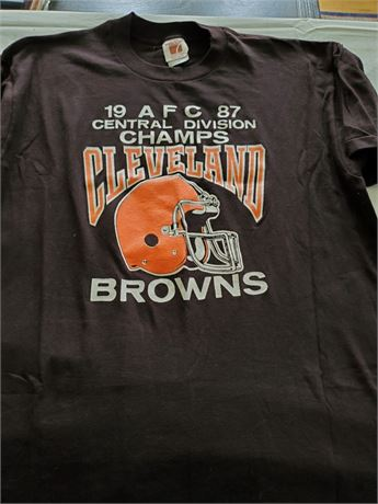 Original 1987 AFC Central Champs Cleveland Browns T Shirt XL