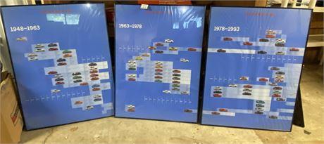The Evolution of Porsche Posters 1948-1963-1978-1993 - Framed