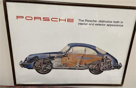 1962 Porsche Advertisement Cutaway Poster Framed