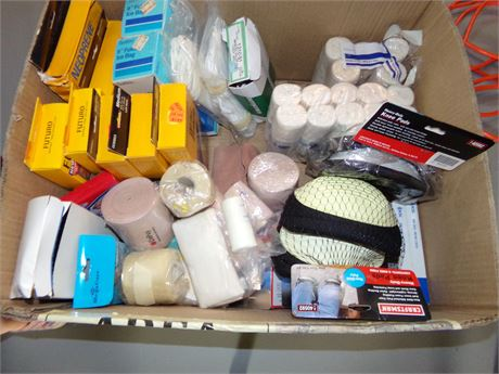 Medical Supplies- lots of braces and wraps and 2 Pairs of Craftsman Knee Pads