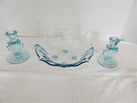 Moonlight Blue Console Bowl & Candle Holders