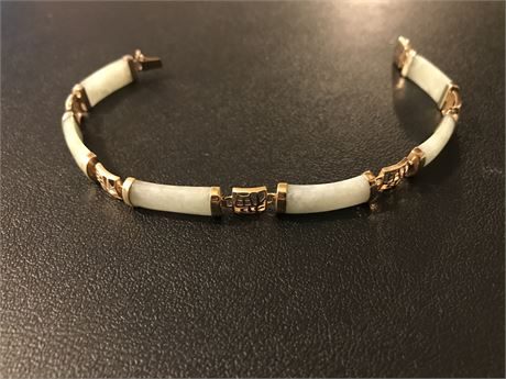14k Gold and Jade Chinese Bracelet