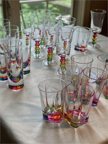 Unique and Pretty Acrylic (?) Rainbow Drinkware - Set of 8