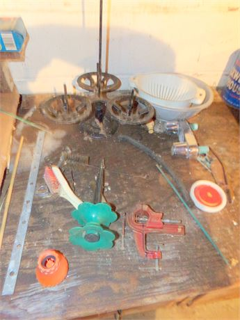 Clean Out- Counter- Variety of Items incl small Vise