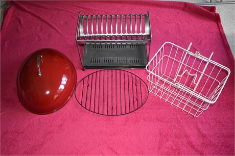 Dish rack from Greece/Bike basket and turkey rack/roaster lid
