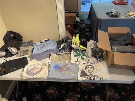 Box of Tshirts (sz L & XL), Woman's Jacket sz Med and Hangers