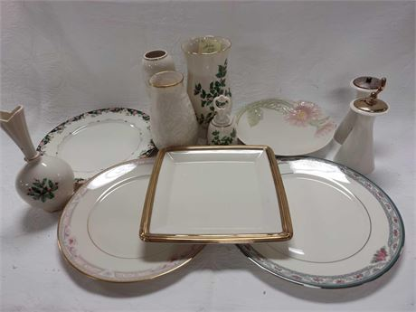 LENOX Vases Plates Salt and Pepper Bell and Holiday Group Lot
