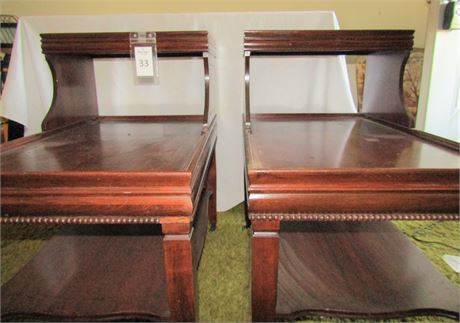 Pair of Matching Wooden Two Tier Side Tables