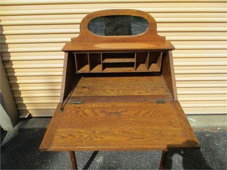 Antique Oak Fold Down Secretary Desk w/ Mirror