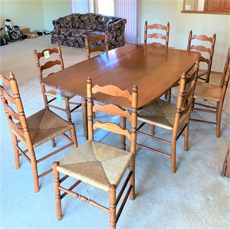 Mid-Century Modern Maple Dining Room Table and Chairs Set
