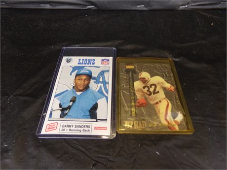Barry Sanders and OJ Simpson sports cards