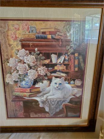 Pretty Framed Cat Print J Gibson