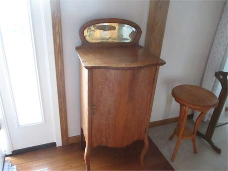 Antique Quarter Sawed Oak Larkin Co  78 Rpm Record Storage Cabinet w/ Mirror