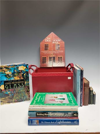 Book Collection in Red Leather Wrapped Box